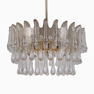 Vintage Silver-Plated Chandelier with 78 Crystals by Ernst Palme for Palwa, 1960s