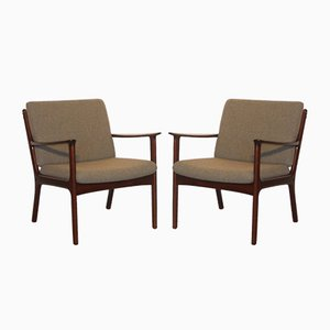 Danish PJ 112 Easy Chairs by Ole Wanscher for PJ møbler, 1960s, Set of 2