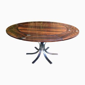 Flip Flap or Lotus Extending Circular Rosewood Dining Table from Dyrlund, 1970s
