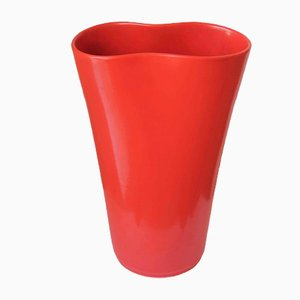 Vaso in ceramica laccata rossa di Pozzi, anni '50