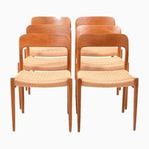 Vintage Danish Model 75 Dining Chairs by Niels Otto (N. O.) Møller for J.L. Møllers, Set of 6