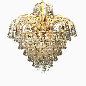 Gilt Chandelier with Hand-Blown Glass Drops by Paolo Venini for Venini, 1971