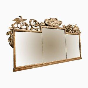 Espejo antiguo plateado con ornamentación de pájaros y flechas del siglo XVIII