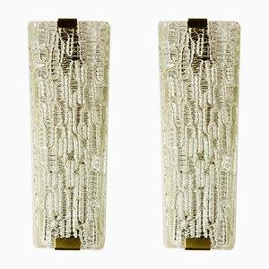 Wandlampen aus Strukturglas von J. T. Kalmar, 1950er, 2er Set