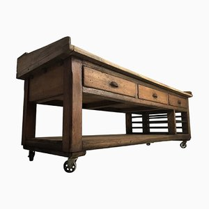 Vintage Pine & Sycamore Bakers Table Kitchen, 1940s
