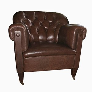 Button-Back Dark Brown Leather Club Chair, 1920s