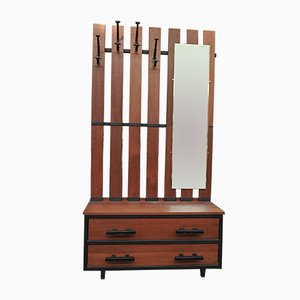 Large Mahogany & Metal Coat Rack, 1950s