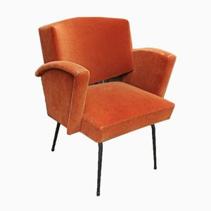 Metal & Orange Fabric Armchair, 1950s