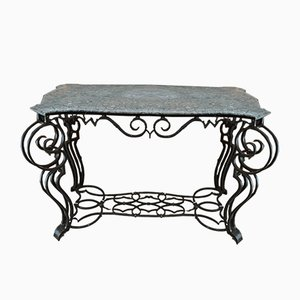 Iron & Marble Louis XV Console Table, 1940s