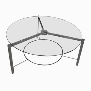 Chromed Metal & Glass Coffee Table, 1970s