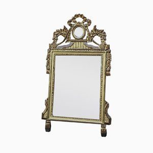 Espejo estilo Louis XVI vintage de madera dorada, años 40