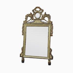 Vergoldeter Vintage Spiegel mit Holzrahmen im Louis XVI Stil, 1940er