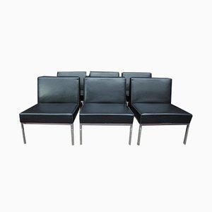 Chaises d'Appoint en Métal Chromé & en Skaï Noir, 1970s, Set de 6