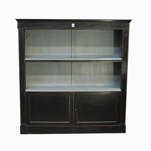 Vintage Black Oak Bookcase, 1950s