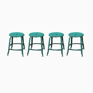 Vintage Industrial Metal Stools, 1930s, Set of 4