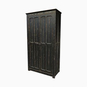 Vintage Industrial Black Fir Armoire, 1930s