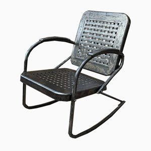 Vintage Modernist Perforated Metal Rocking Chair, 1920s