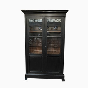 19th Century Black Oak Wardrobe