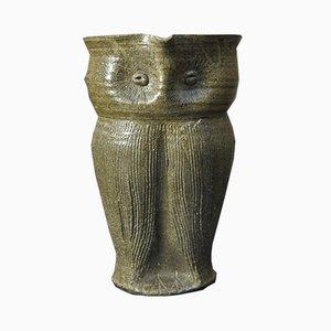 Vaso vintage in ceramica con gufo, anni '50