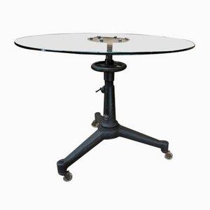 Tavolino da caffè industriale in metallo e vetro di Carl Zeiss, anni '50