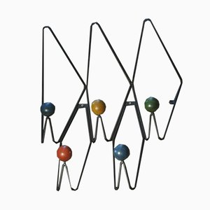 Large Vintage Iron Coat Rack by Roger Feraud, 1950s