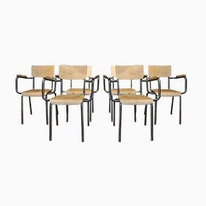 Vintage Stühle aus Metall & Holz, 1950er, 6er Set