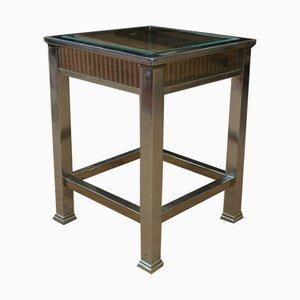 Mesa consola pequeña de metal cromado y vidrio, años 70