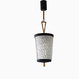 Mid-Century French Steel, Brass & Glass Pendant Light