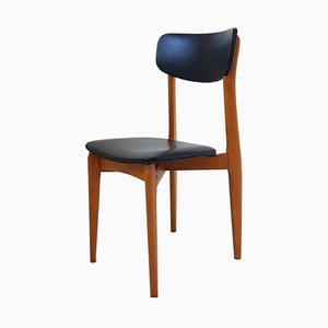 Mid-Century French Leatherette & Beech Chairs, Set of 3