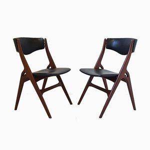 Chaises Vintage en Teck & en Similicuir, Danemark, Set de 2
