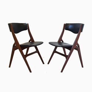 Vintage Danish Teak & Leatherette Chairs, Set of 2