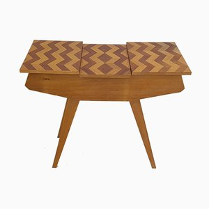 Mid-Century French Wooden Marquetry Sewing Table