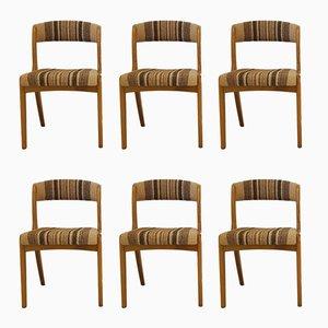 Französische Mid-Century Stühle aus Buche & Wolle, 6er Set