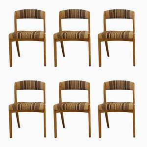 Mid-Century French Beech & Wool Chairs, Set of 6