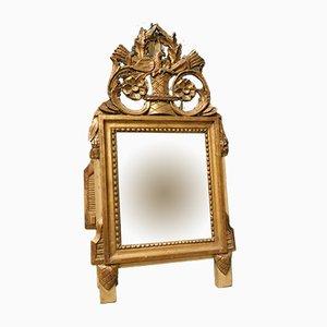 Kleiner antiker Spiegel mit Rahmen aus vergoldetem Holz