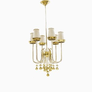 Brass Chandelier by Pietro Chiesa, 1940s
