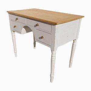 Weißer antiker Schreibtisch aus Pinienholz