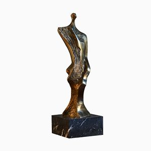 Miniature Series Bronze Sculpture on Marble by Domenico Calabrone, 1970s