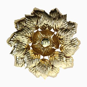 Vintage Brass Leaves Flush Mount by Willy Daro