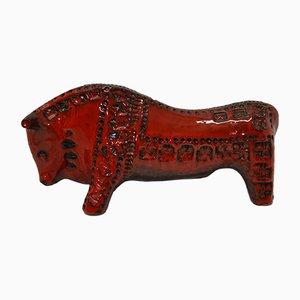 Stier aus Keramik in Rot & Schwarz von Aldo Londi für Bitossi, 1970er