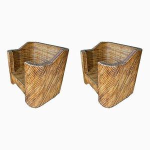 Geschichtete Vintage Clubsessel aus Bambus, 2er Set