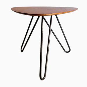 Tavolino in teak e metallo nero, anni '50
