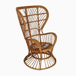 Mid-Century Rattan Wingback Armchair by Gio Ponti & Lio Carminati for Pierantonio Bonacina