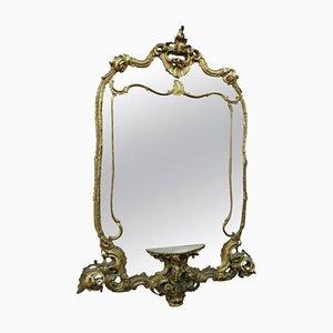 Espejo vintage de madera tallada y dorada, años 50