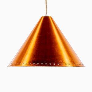 Lampada a sospensione Kegle vintage in ottone di Bent Karlby per Lyfa