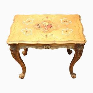 Tavolino vintage in legno intarsiato, anni '50