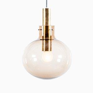 Lampe à Suspension Globe Mid-Century en Verre et en Laiton de Raak