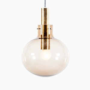 Mid-Century Glass and Brass Globe Pendant from Raak