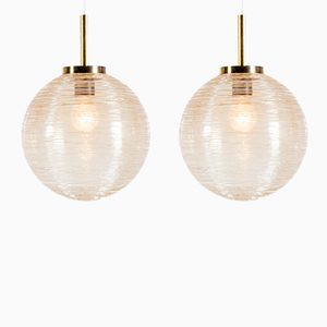 Mid-Century Etched Glass Globe Pendants by Raak, Set of 2
