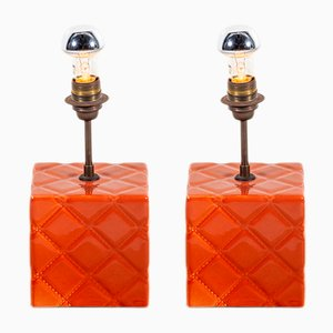 Lámparas de mesa vintage de cerámica y cobre. Juego de 2